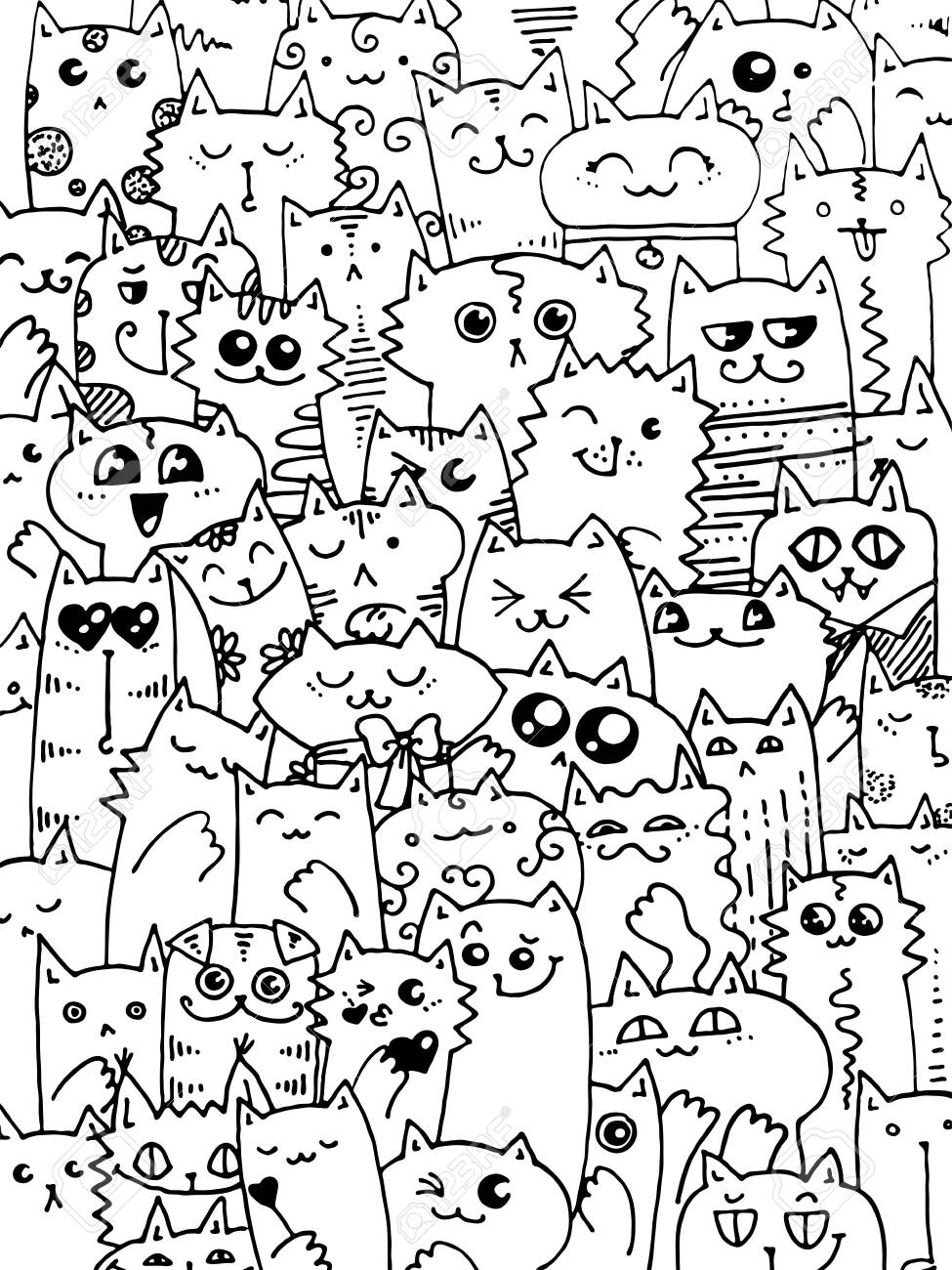 - Kawaii Doodle Cats Pattern. Cute Animal Background. Great For