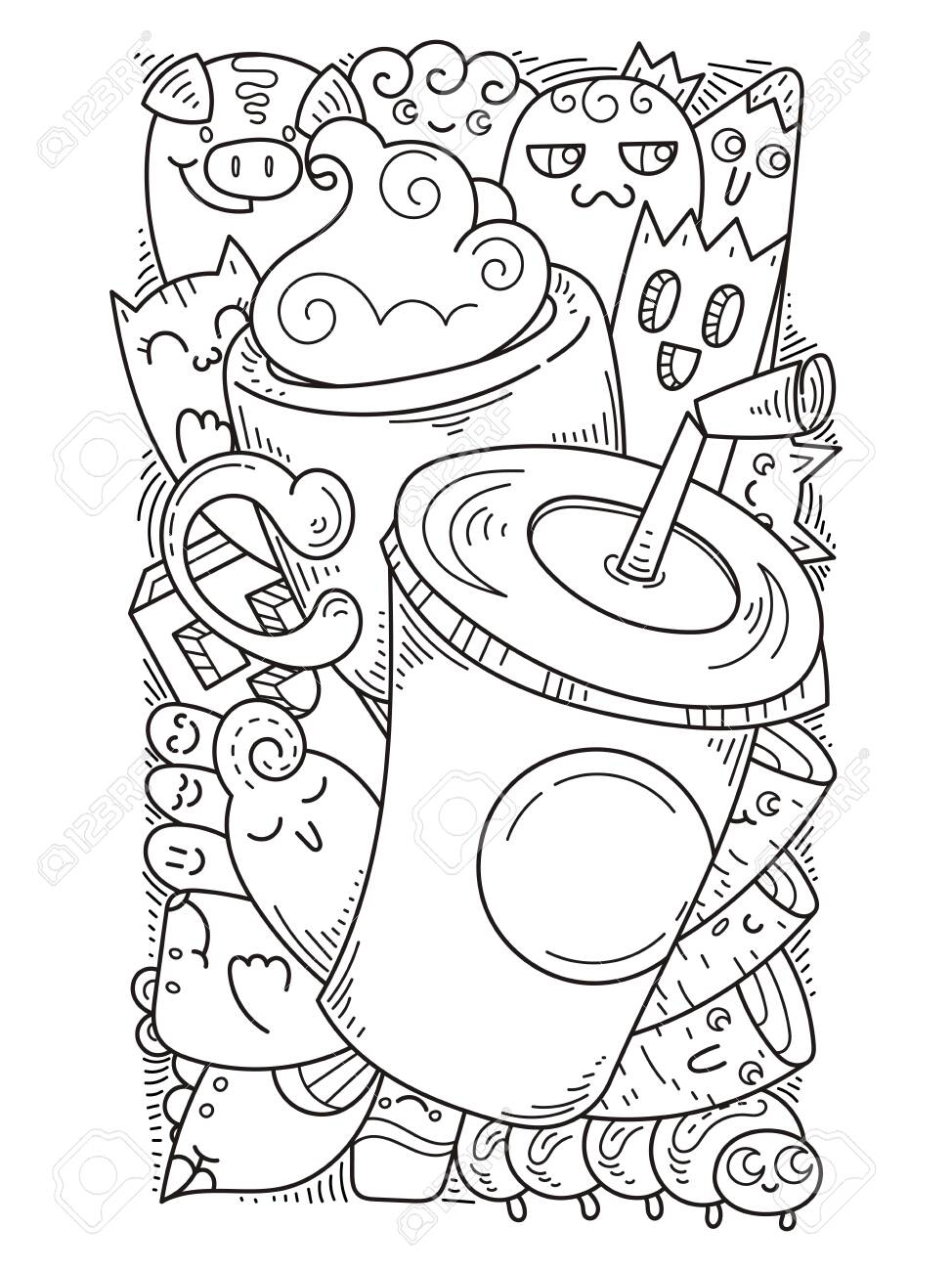 Doodle Hand Drawn Cartoon With Smiles And Taste Coffee Shop Royalty Free Cliparts Vectors And Stock Illustration Image 124083779