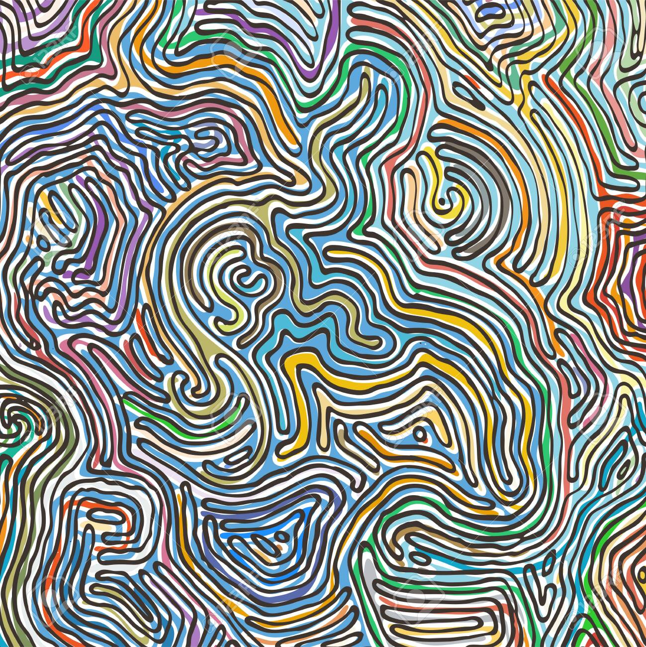 Vector color pattern, curved lines, colorful grunge background. Abstract dynamical rippled surface, illusion of movement, curvature, stone texture - 122533067