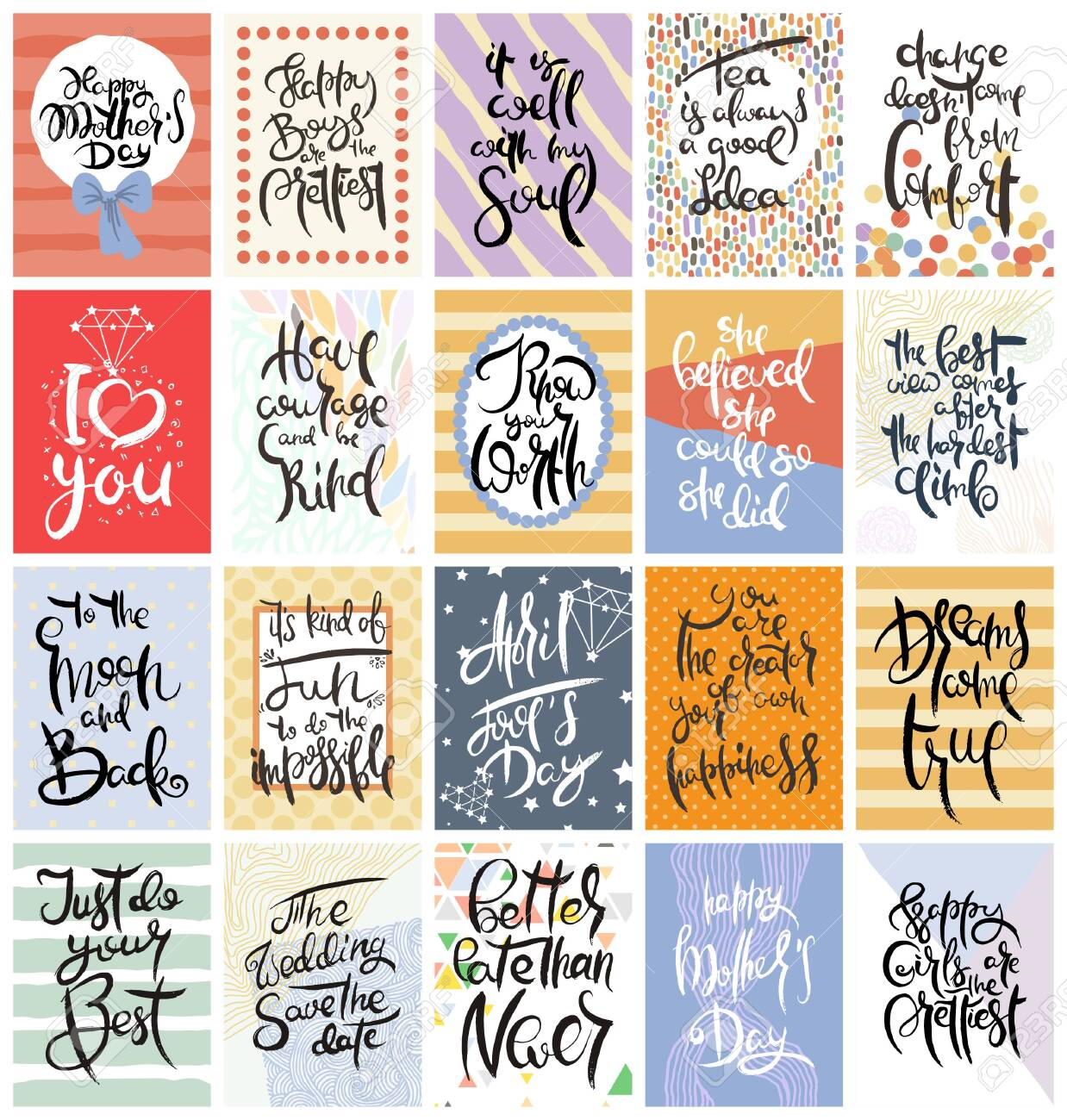 Hand drawn calligraphic card set. Vector illustration. Collection of flyers, brochures, templates. Design of scandinavian cards with lettering, patterns and ornaments. - 143567642