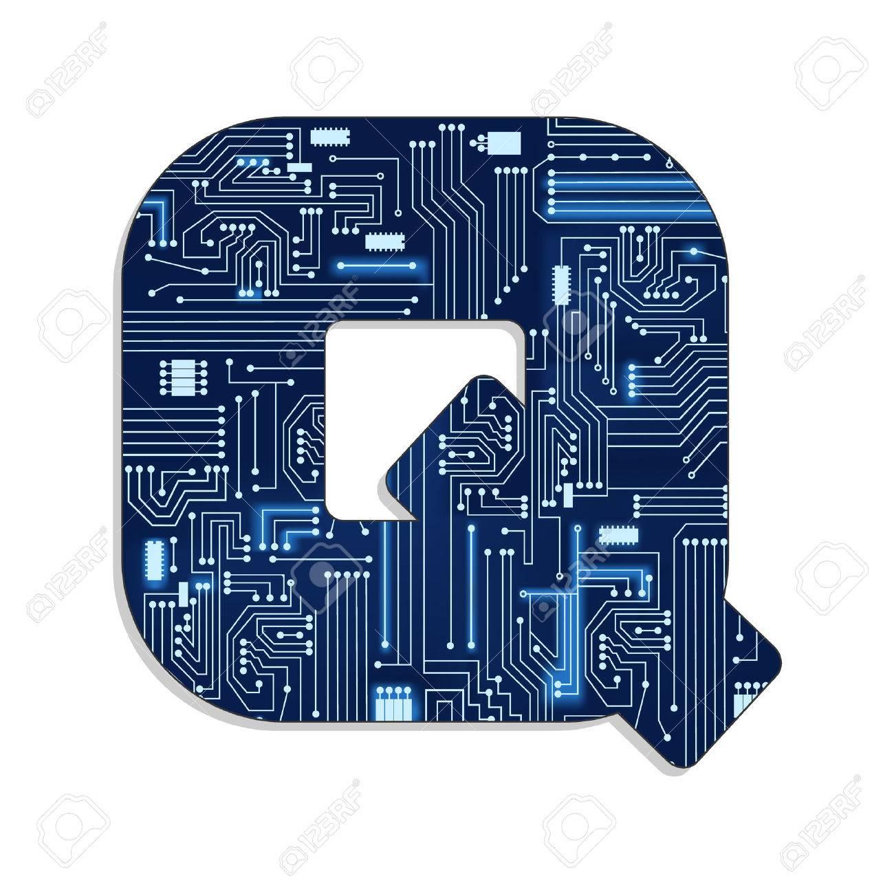Buchstaben Q Ab Technik S Stilisierte Alphabet Mit Elektronischen ...