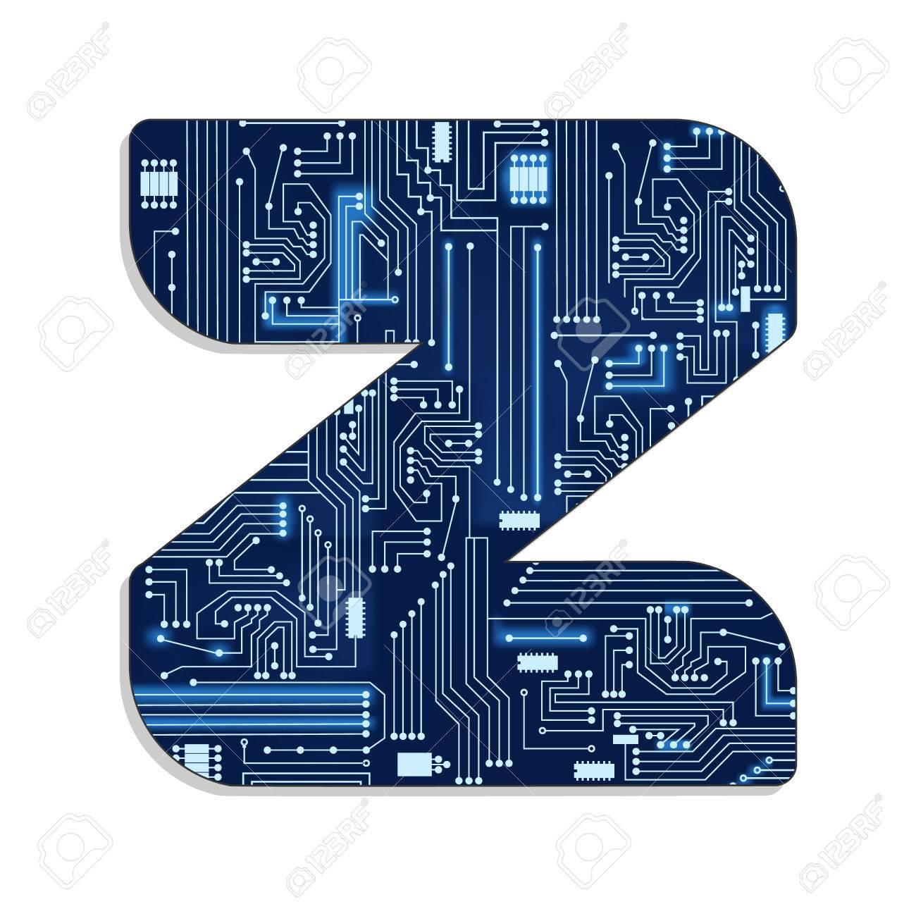 Circuito Z : Letra z del alfabeto estilizada tecnología s con circuito