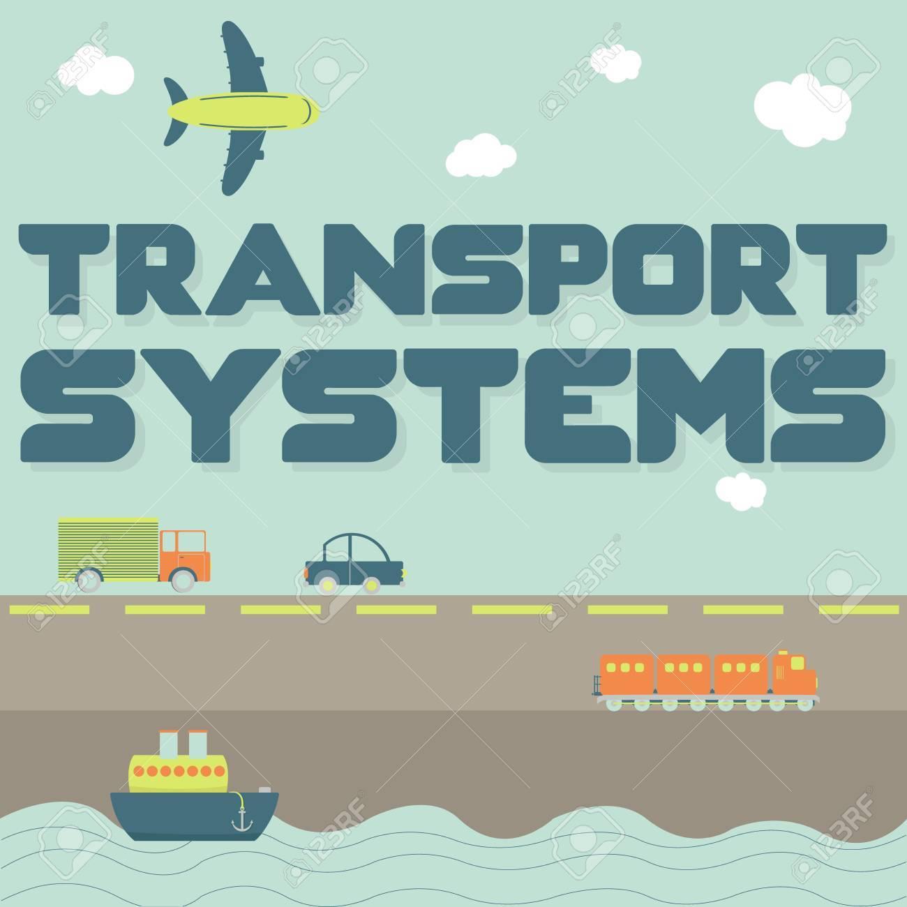 Los Sistemas De Transporte Frase Y Medios De Transporte Como Camiones Coche Barco Avión Y Tren
