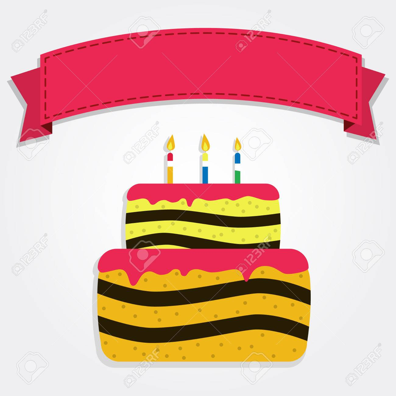 Happy Birthday Banner Decorated With A Colorful Cake Red Ribbon Empty Space For Writing