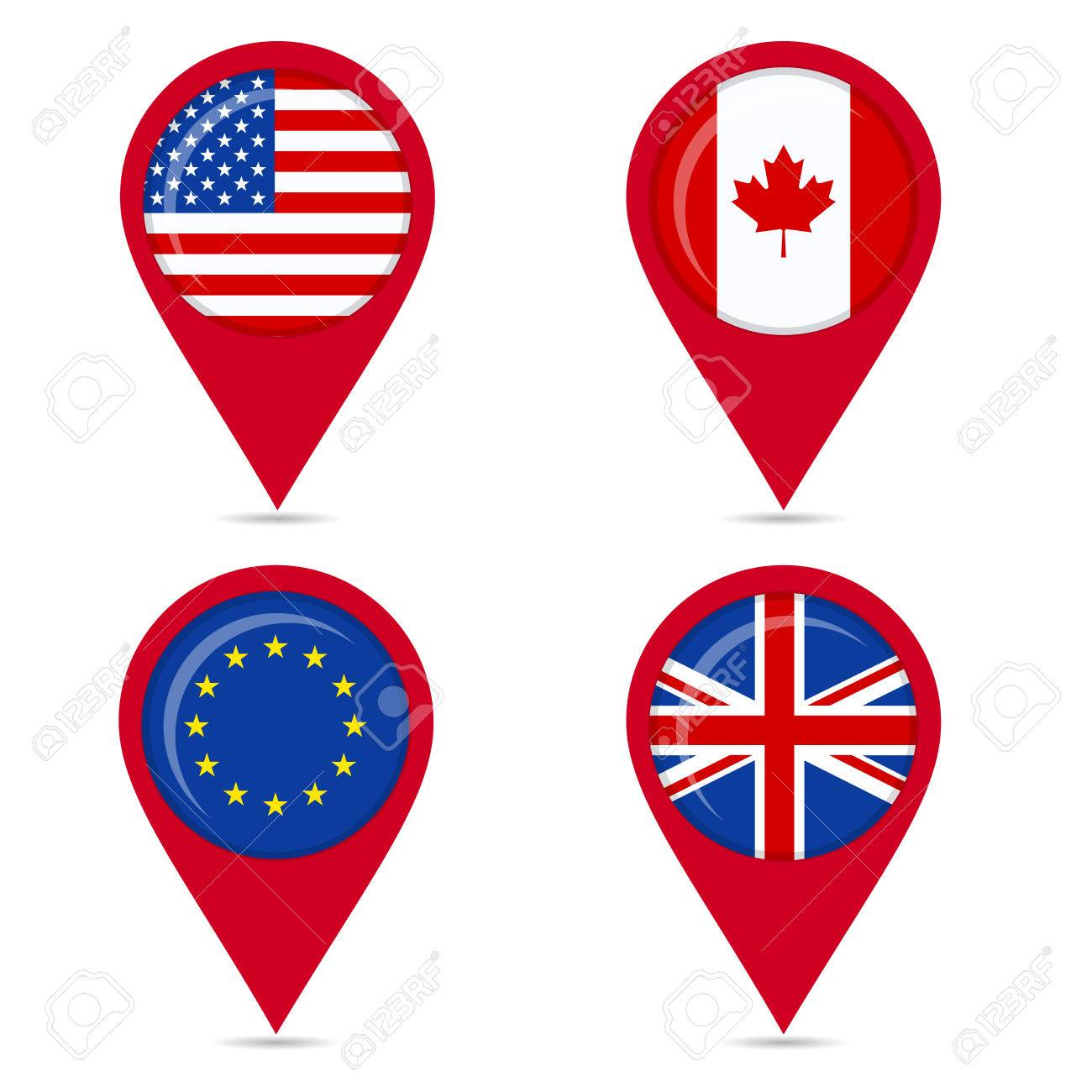 Map pin icons of national flags: united states, canada, europe,..