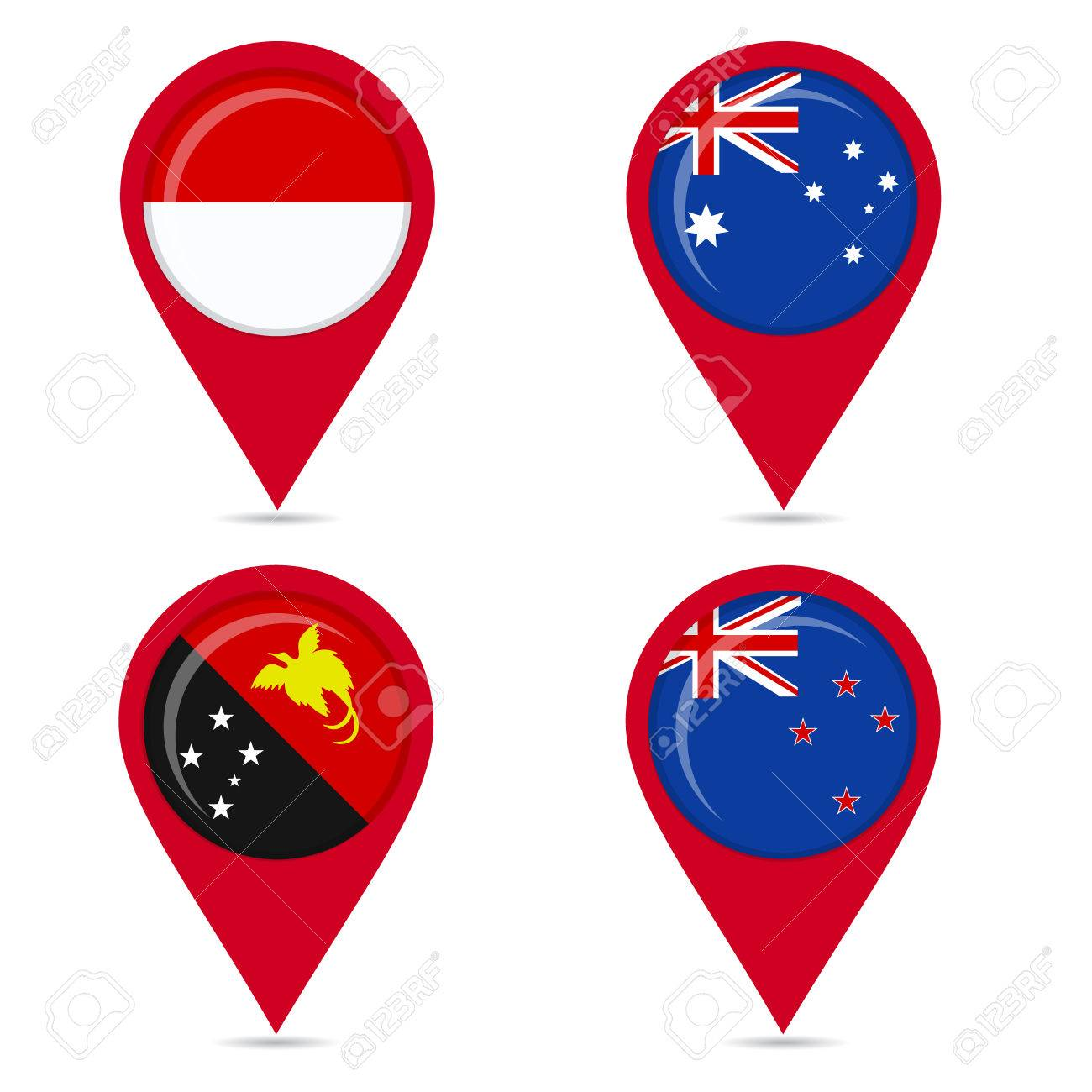 Map pin icons of national flags: Papua New Guinea, Australia,