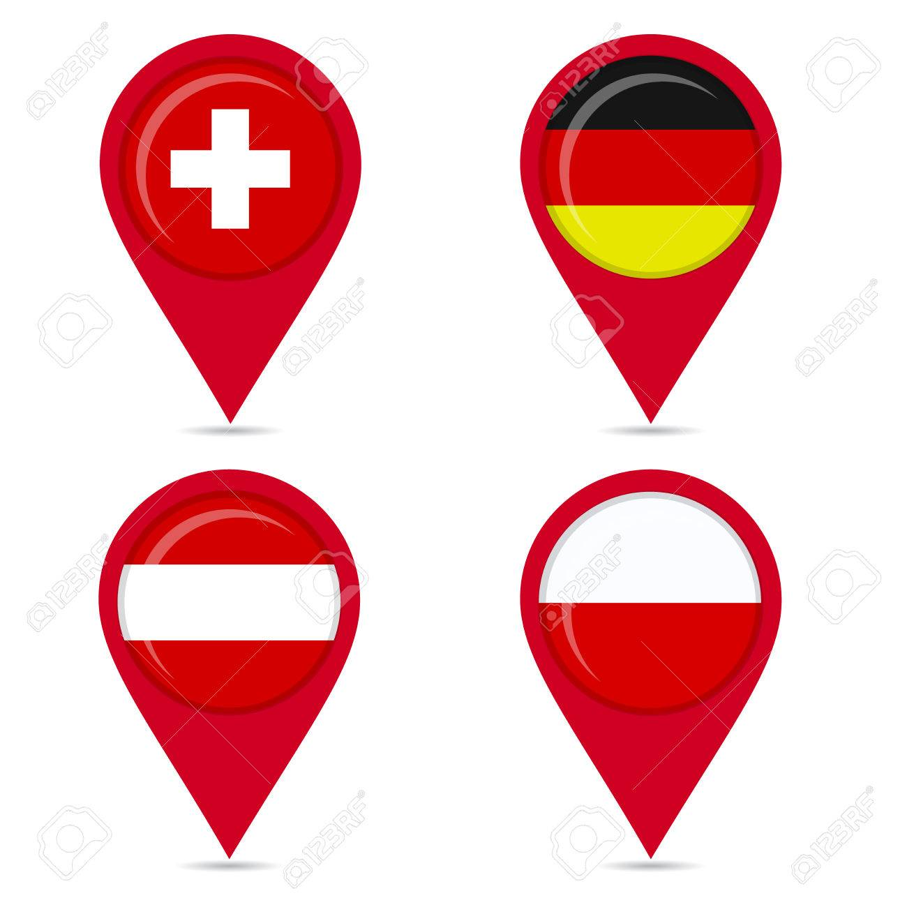 Map pin icons of national flags switzerland germany poland map pin icons of national flags switzerland germany poland austria white biocorpaavc