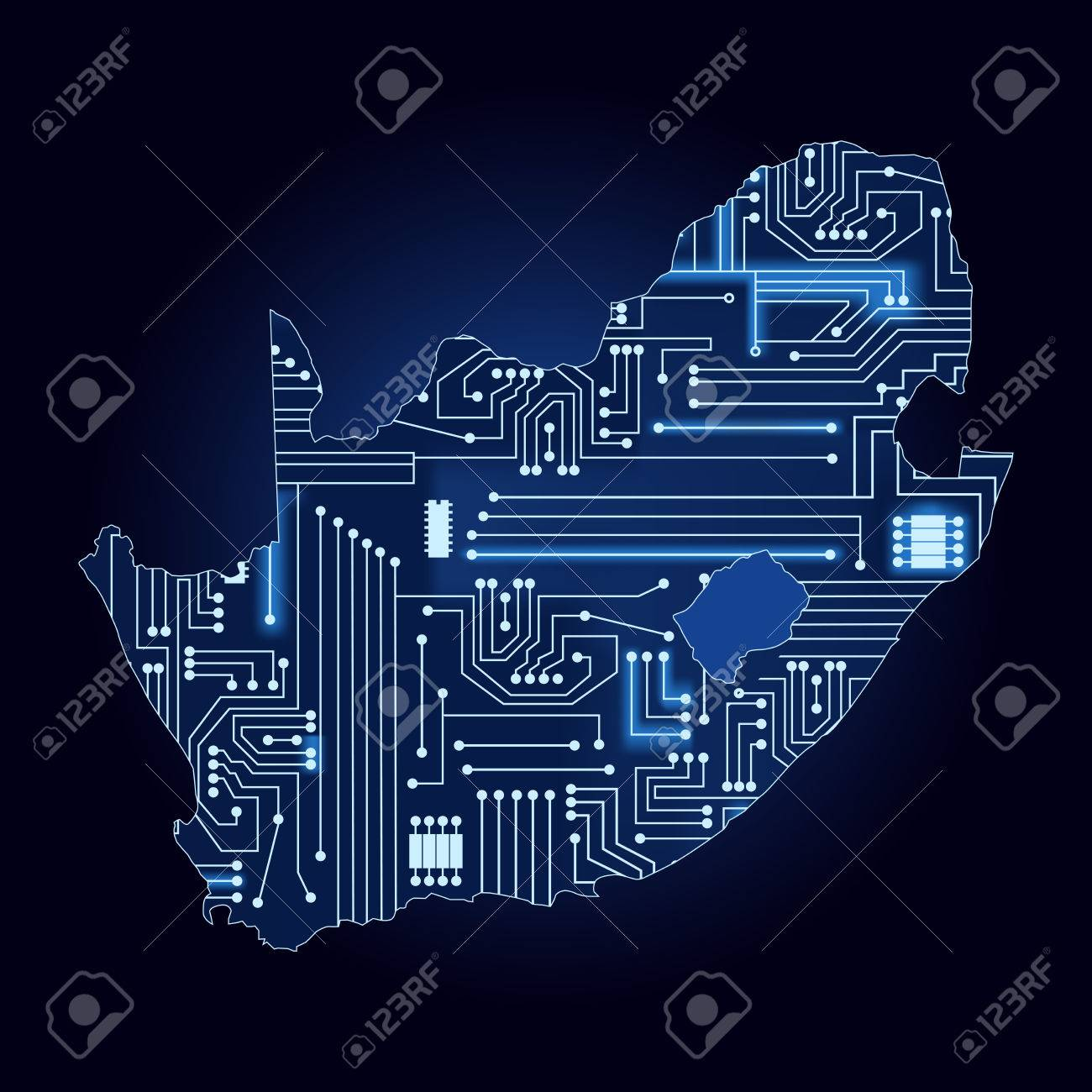 Circuito Electronico : Correspondencia de contorno de sudáfrica con un circuito