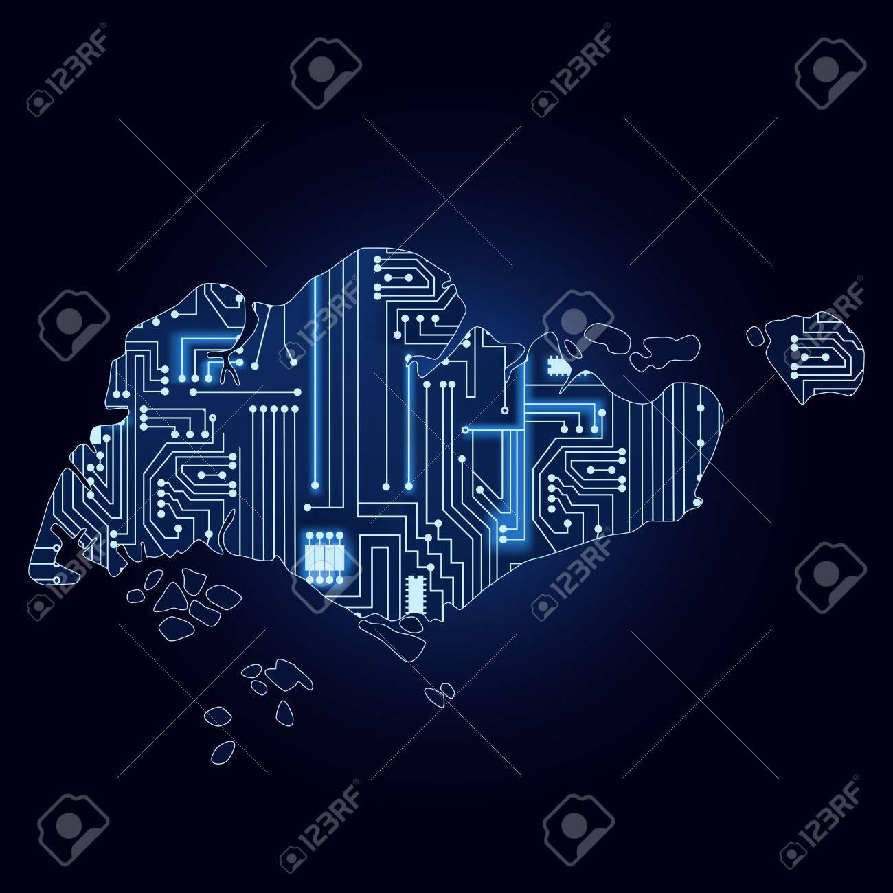 Circuito Singapur : Correspondencia de contorno de singapur con un circuito electrónico