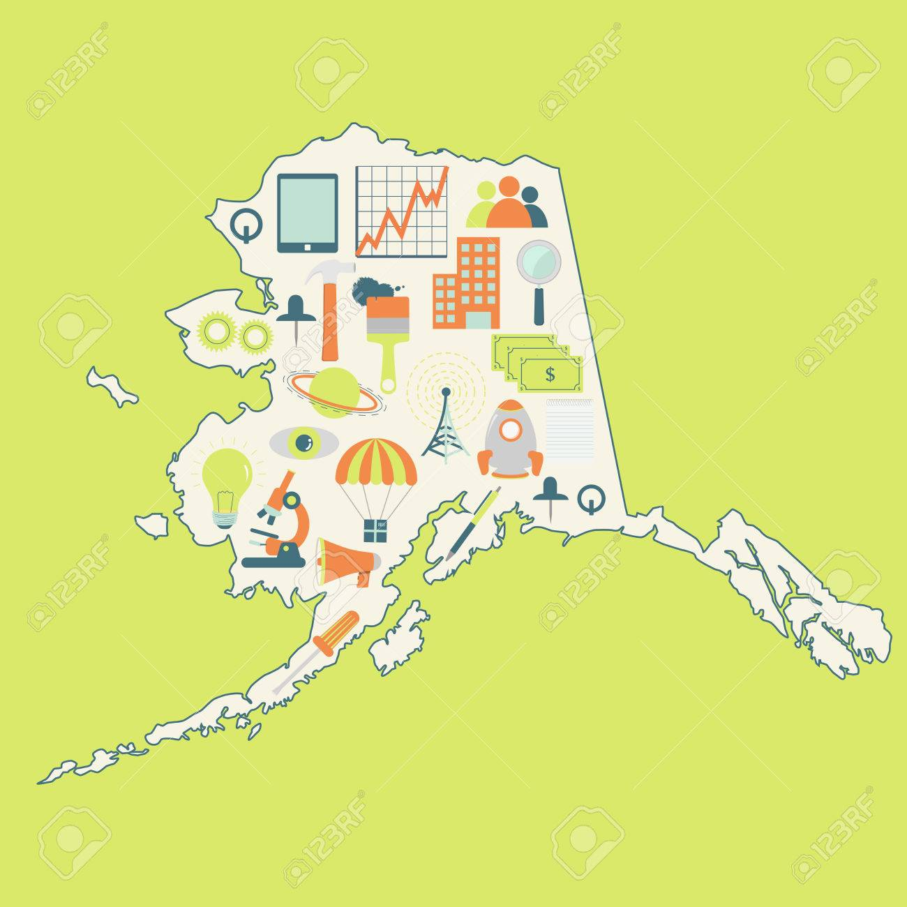 Map Of Alaska With Technology Icons Contour Map Of Alaska With