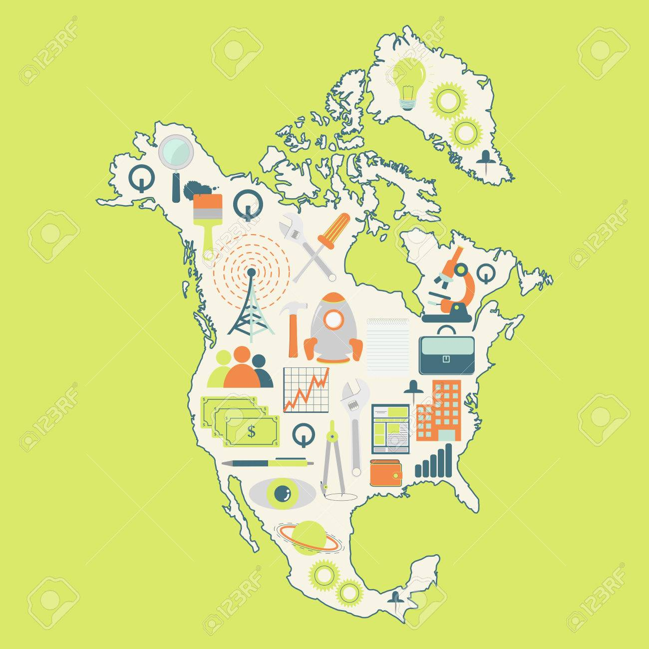 Map Of North America With Technology Icons. Contour Map Of North ...