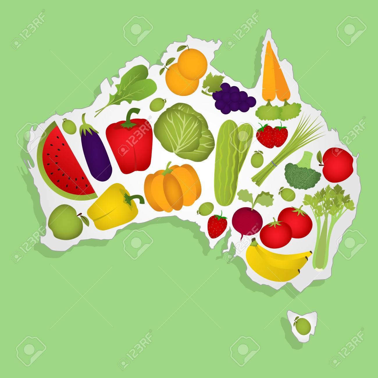 Map Of Australia Full Of Fruits And Vegetables Royalty Free – Australia Full Map