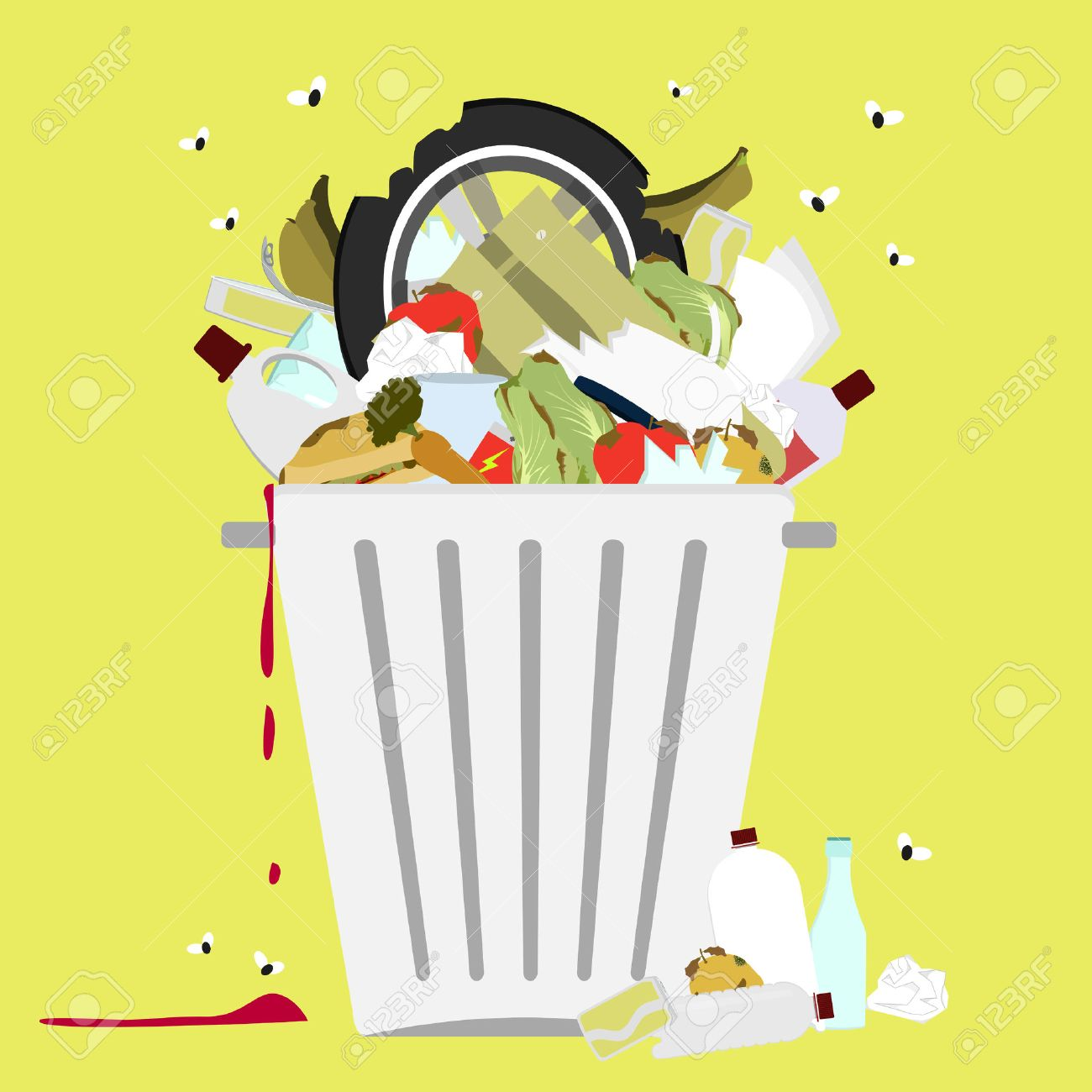 Garbage can full of trash. Large trash bin overflowing garbage (rotten fruit, old tires, packing of plastic, metal and glass). Trash fallen to the ground. Flies flying. - 39349746