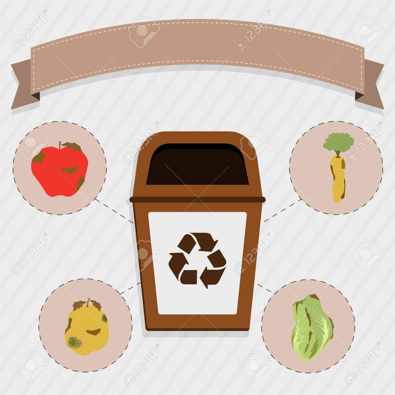 Organic food selective collection. Brown trash for the selective collection of remains of organic food. Rotten apple, carrot, orange and cabbage. - 39349747