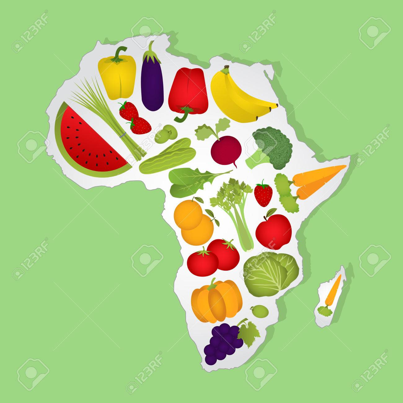 Map Of Africa With Fruits. Map Of Africa Full Of Fruits And