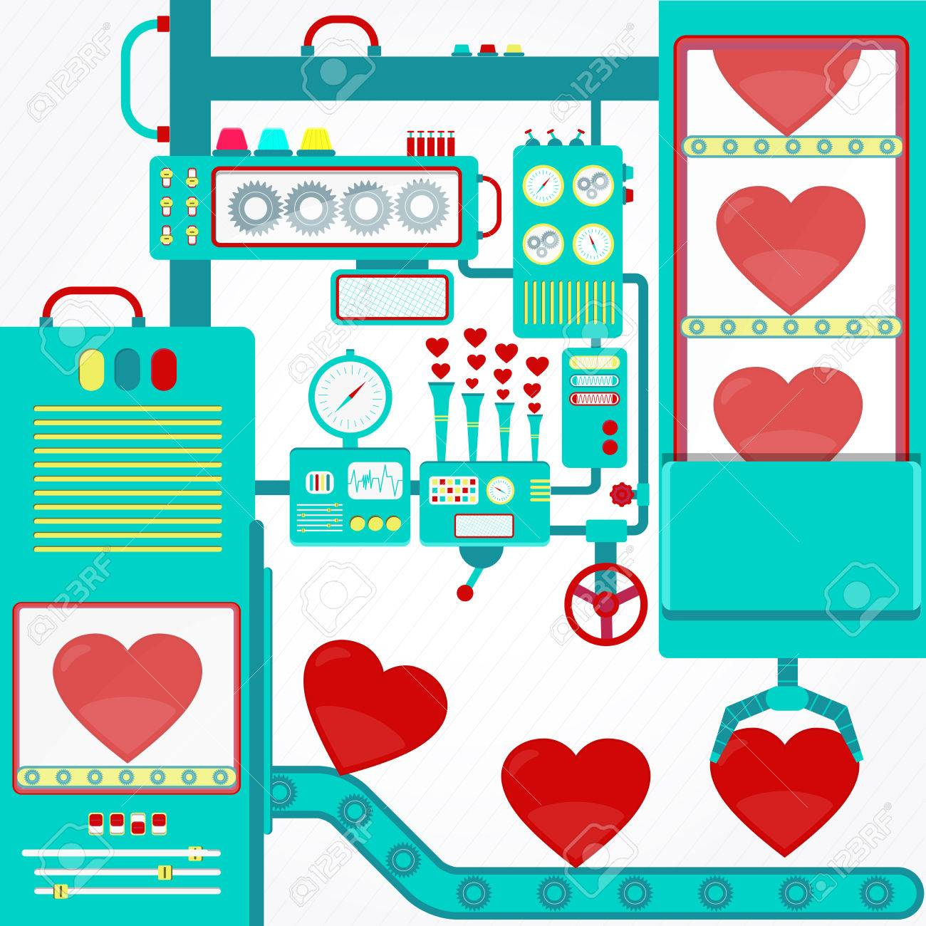Factory of love. Industry of love with machinery and gripper holding red hearts. Fantasy. - 48006173