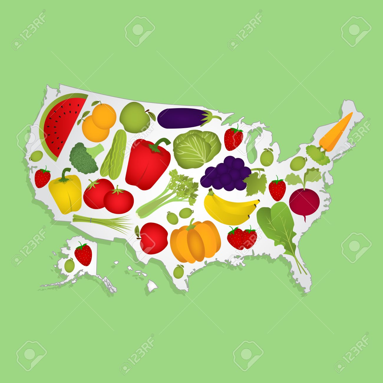 Map Of USA With Fruits Map Of United States Full Of Fruits And - Full usa maps