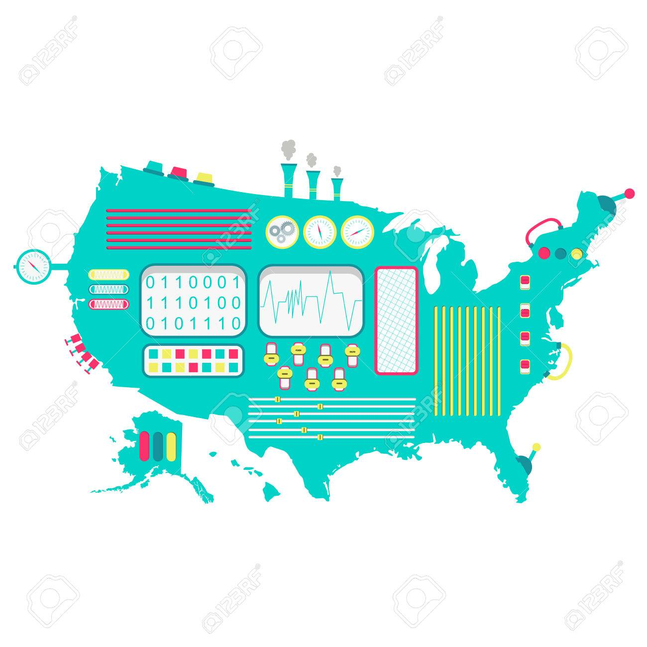 USA Machine. Map Of United States Like A Cute Machine With Buttons