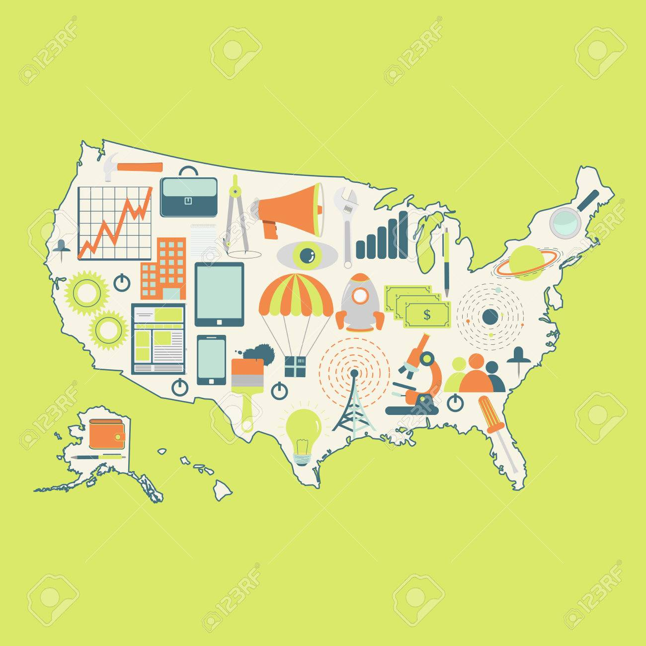 Map Of Usa With Technology Icons Contour Map Of United States