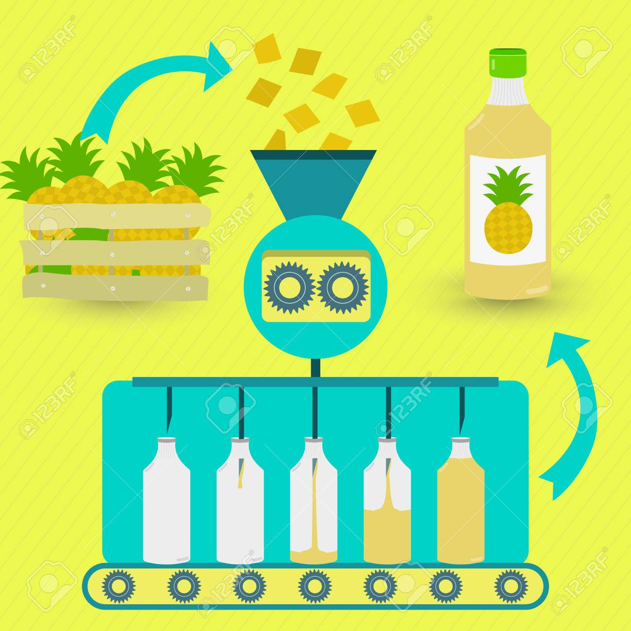 Pineapple juice fabrication process. Pineapple juice series production. Fresh pineapples being processed. Bottled pineapple juice. - 48371782