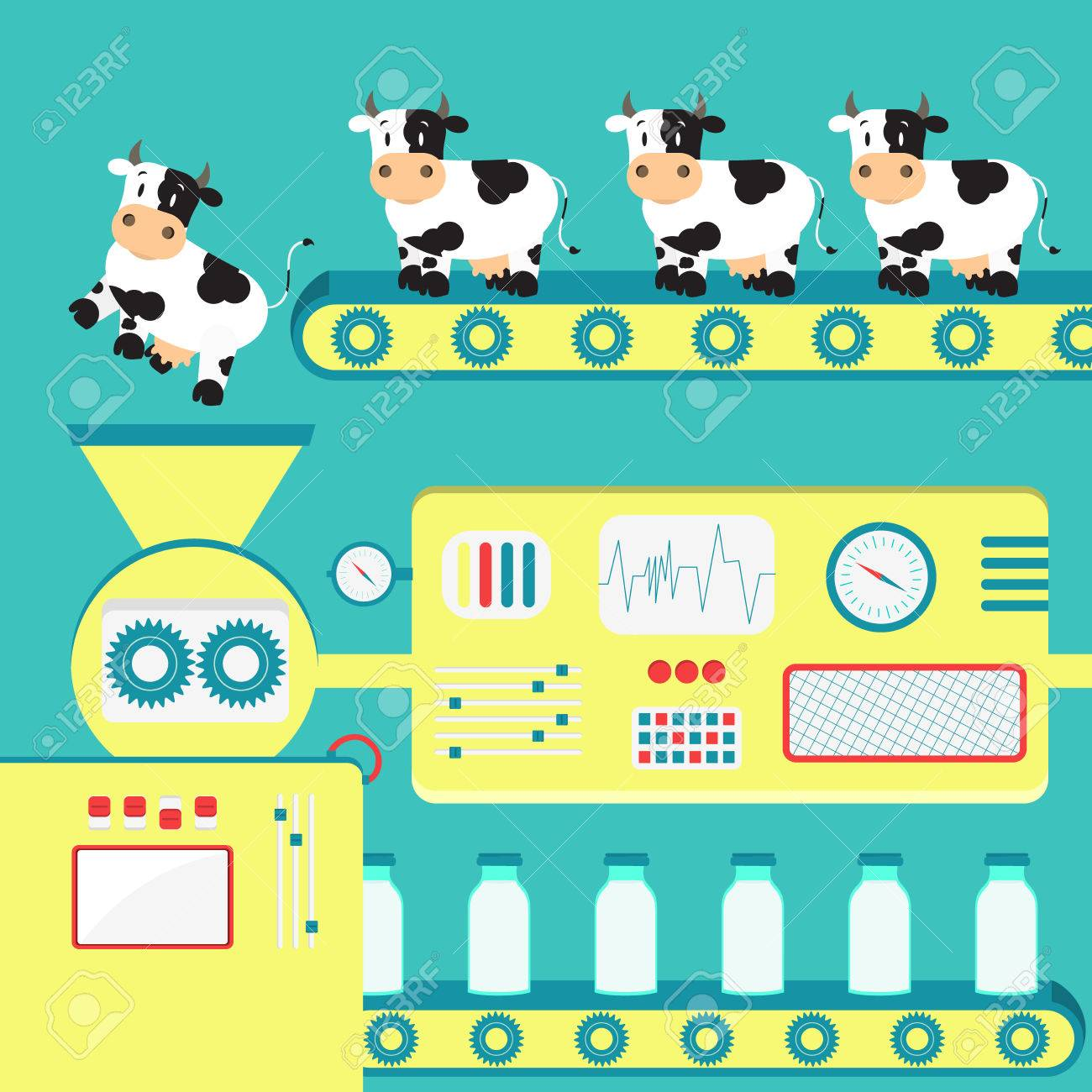 Production of cow's milk. Factory producing milk from the cow. Conceptual. - 53771106