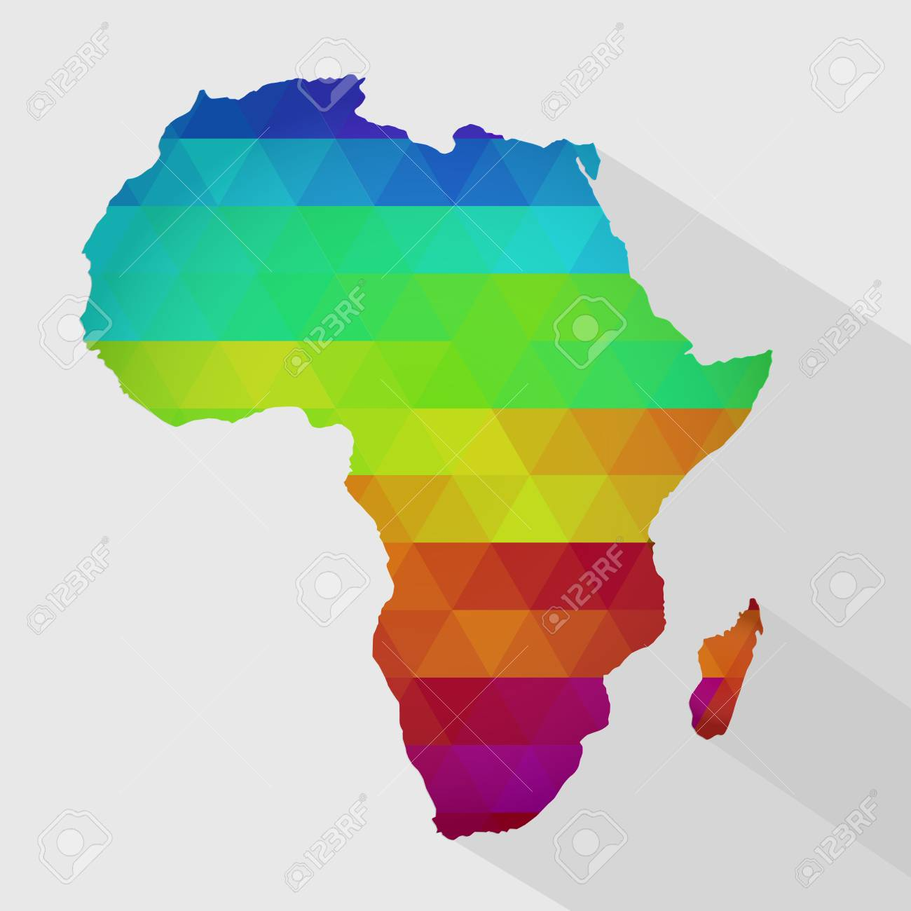 Shape Of Africa Map.Map Of Africa With Colored Geometric Shapes Triangles Forming