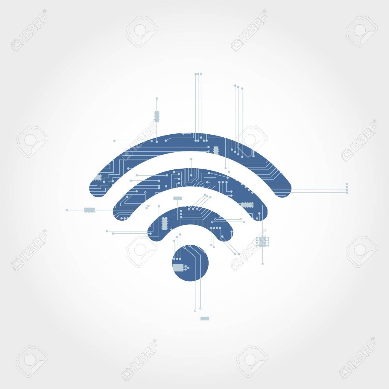 Circuito Wifi : Circuito electrónico de ramificación de un símbolo wifi diseño