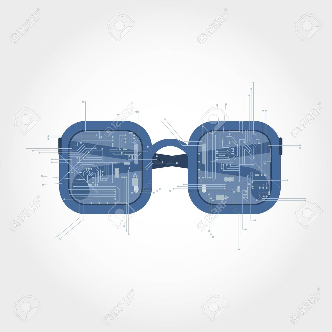 Circuito Electrónico De Ramificación De Unas Gafas. Gafas Futuristas ...