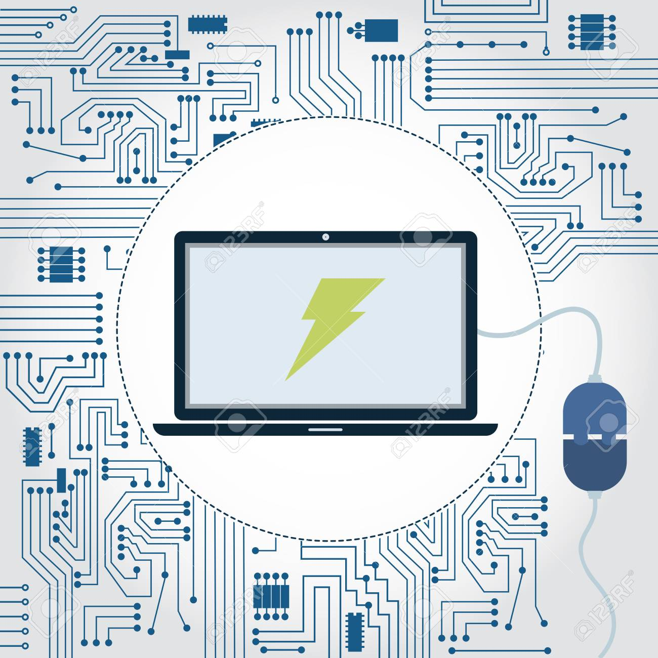 Electronics Circuit Background Laptop With A Plug Plugged In Monitor And Lightning Symbol On The