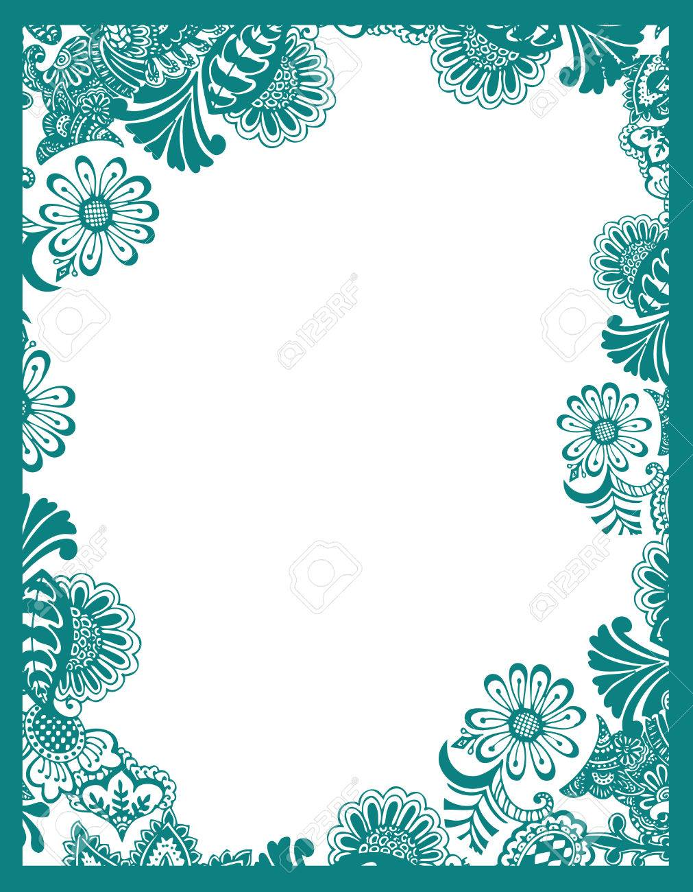 paisley flower frame stock vector 4358496