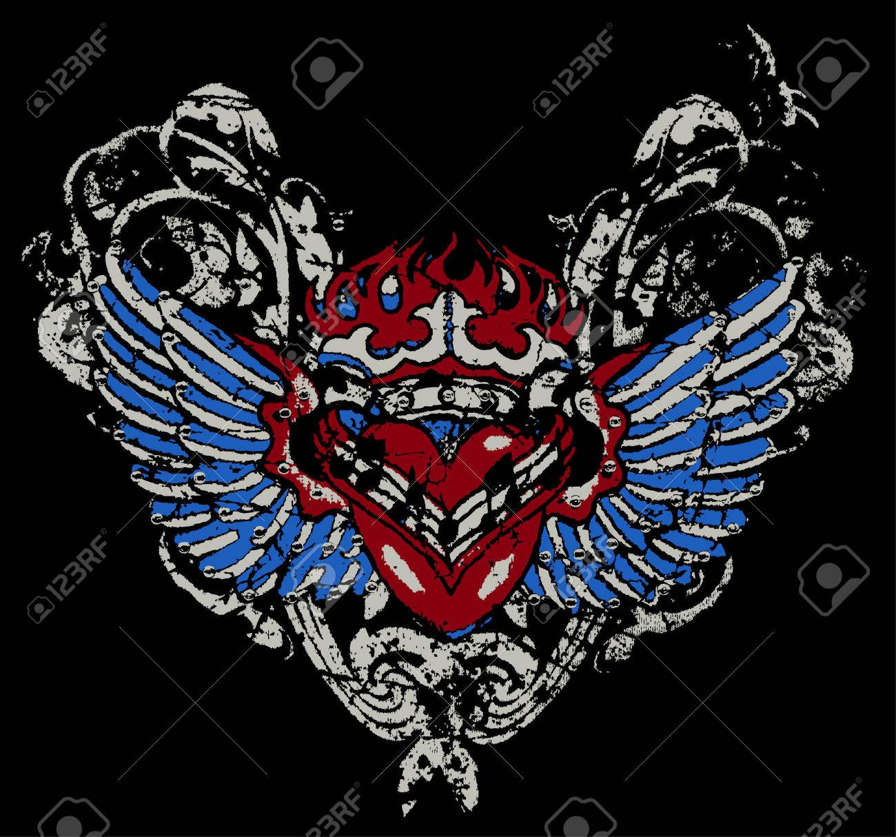 fire heart with wing Stock Vector - 4759641