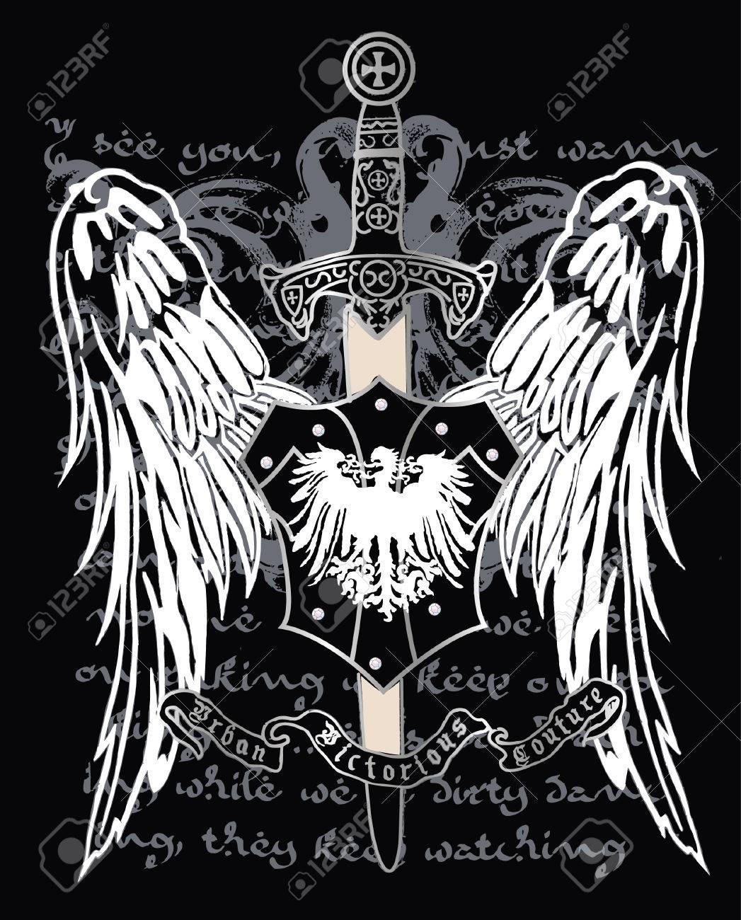 Cross heraldic crest eagle Stock Vector - 4835661
