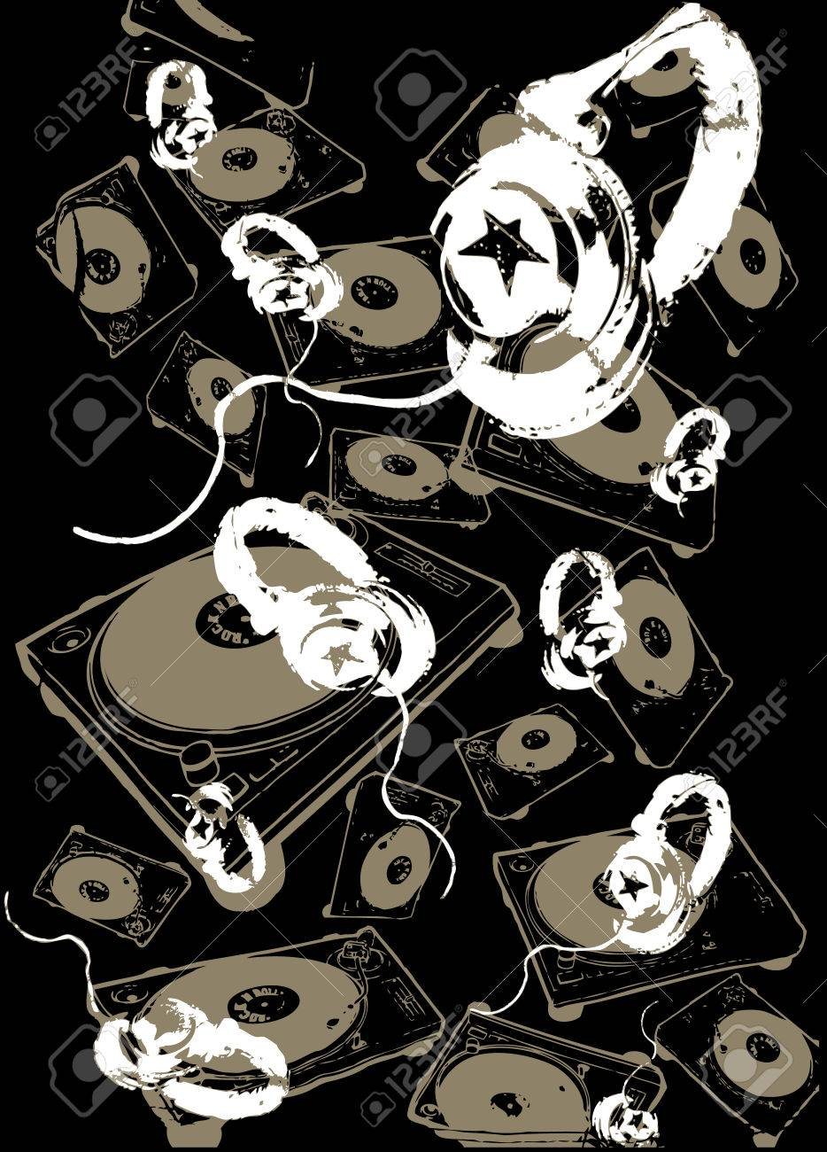 Music headphone background Stock Vector - 4862528