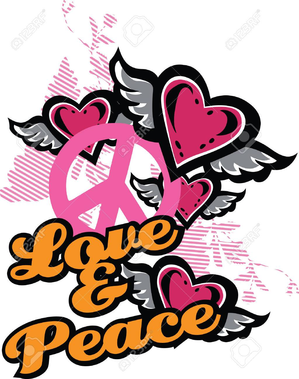 love and peace fancy graphic Stock Vector - 5326517