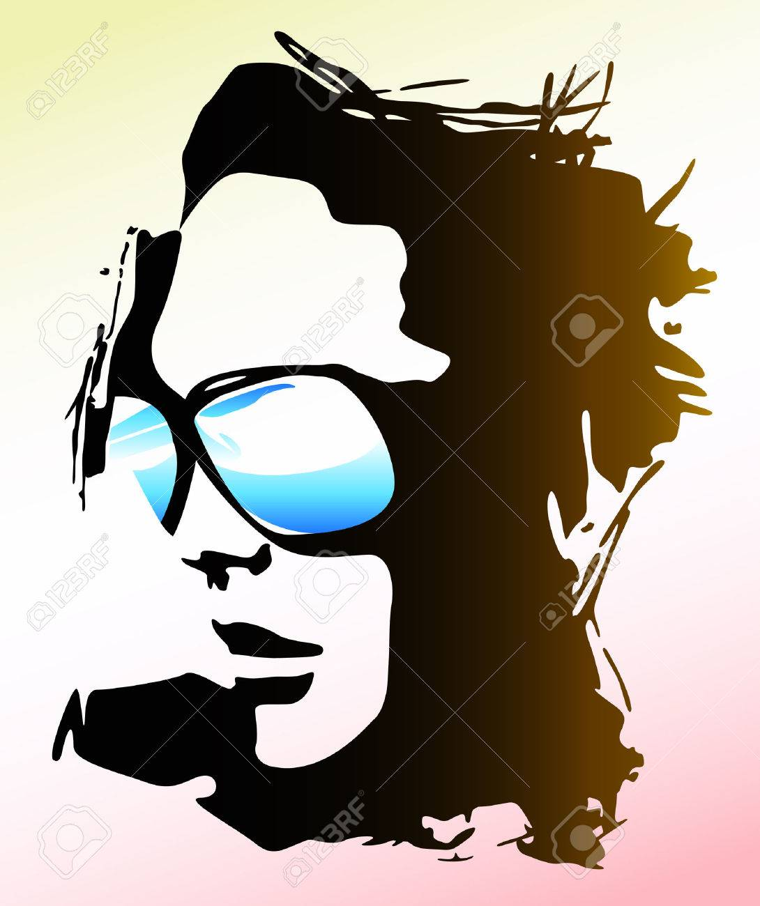 woman wearing sunglasses illustration Stock Vector - 5387846