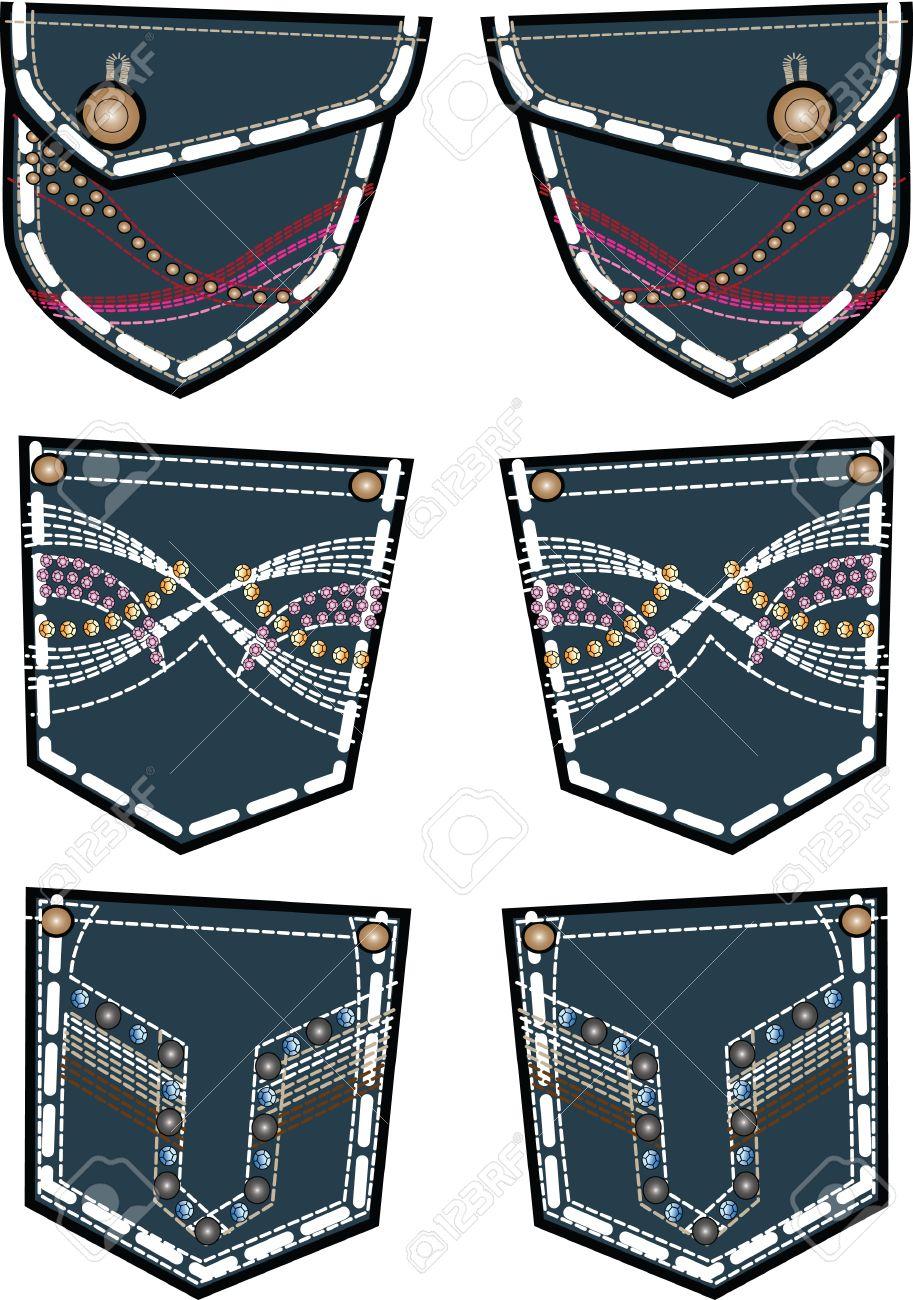 acb8bbada945c Jeans De Moda Dama Bolsillo Trasero De Diseño Ilustraciones ...