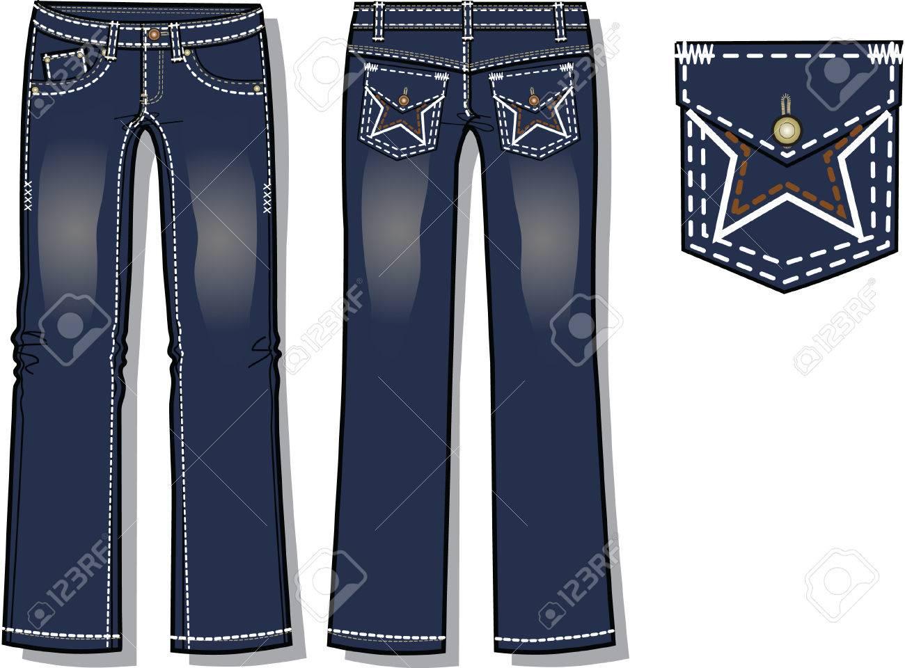 5da306aa1f4d5 Dama de la moda jeans de mezclilla con detalles de diseño de bolsillo Foto  de archivo