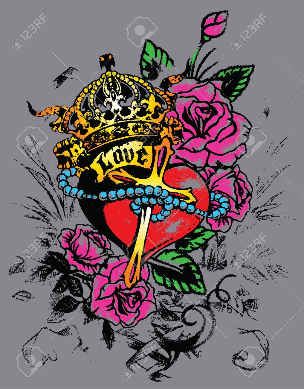royal heart with flores decoration Stock Vector - 5527432