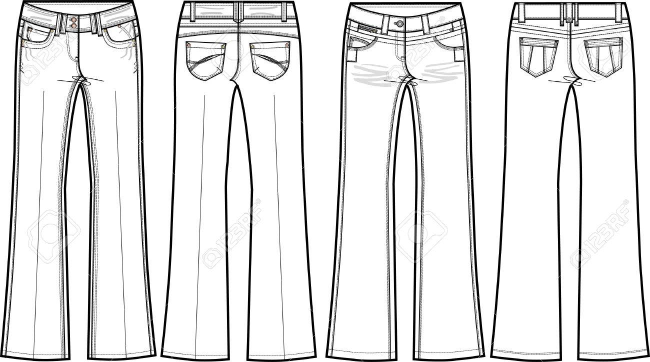 Skinny Jeans Drawing Vector Denim Jeans Skinny