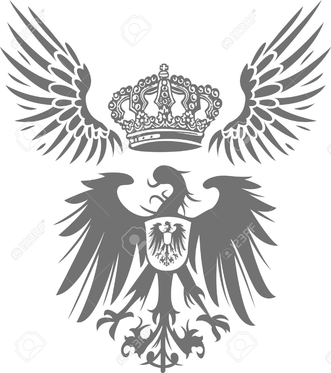 eagle shield with wing and crown Stock Vector - 5658378