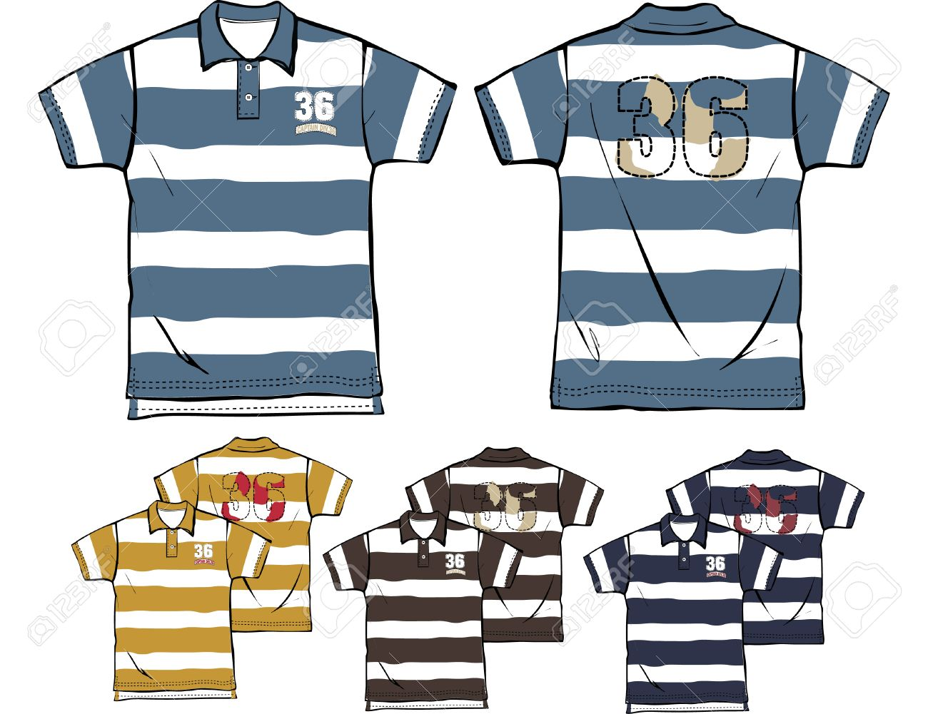 Boy Striped Polo Shirts Royalty Free Cliparts Vectors And Stock