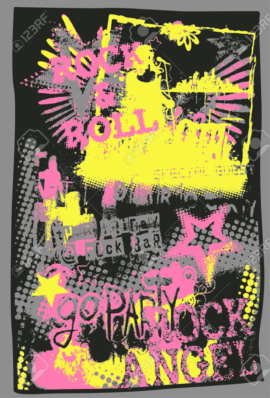 music pop art poster Stock Vector - 6630315