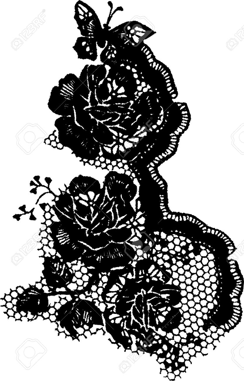 elegant rose and butterfly lace pattern Stock Vector - 7110317