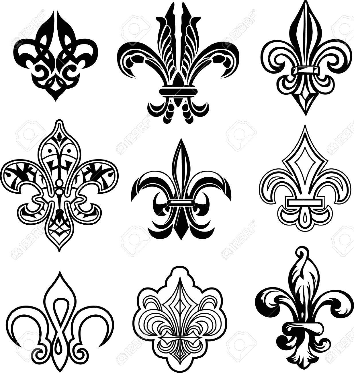 Fleur De Lys Set Royalty Free Cliparts Vectors And Stock