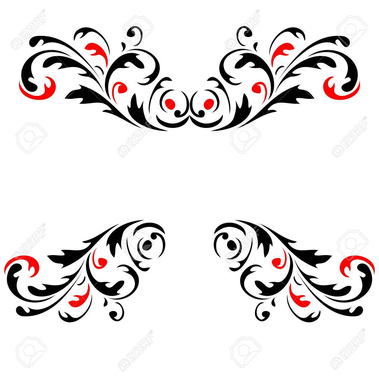 Abstract flower pattern 4  Red and Black vector Stock Vector - 24740994