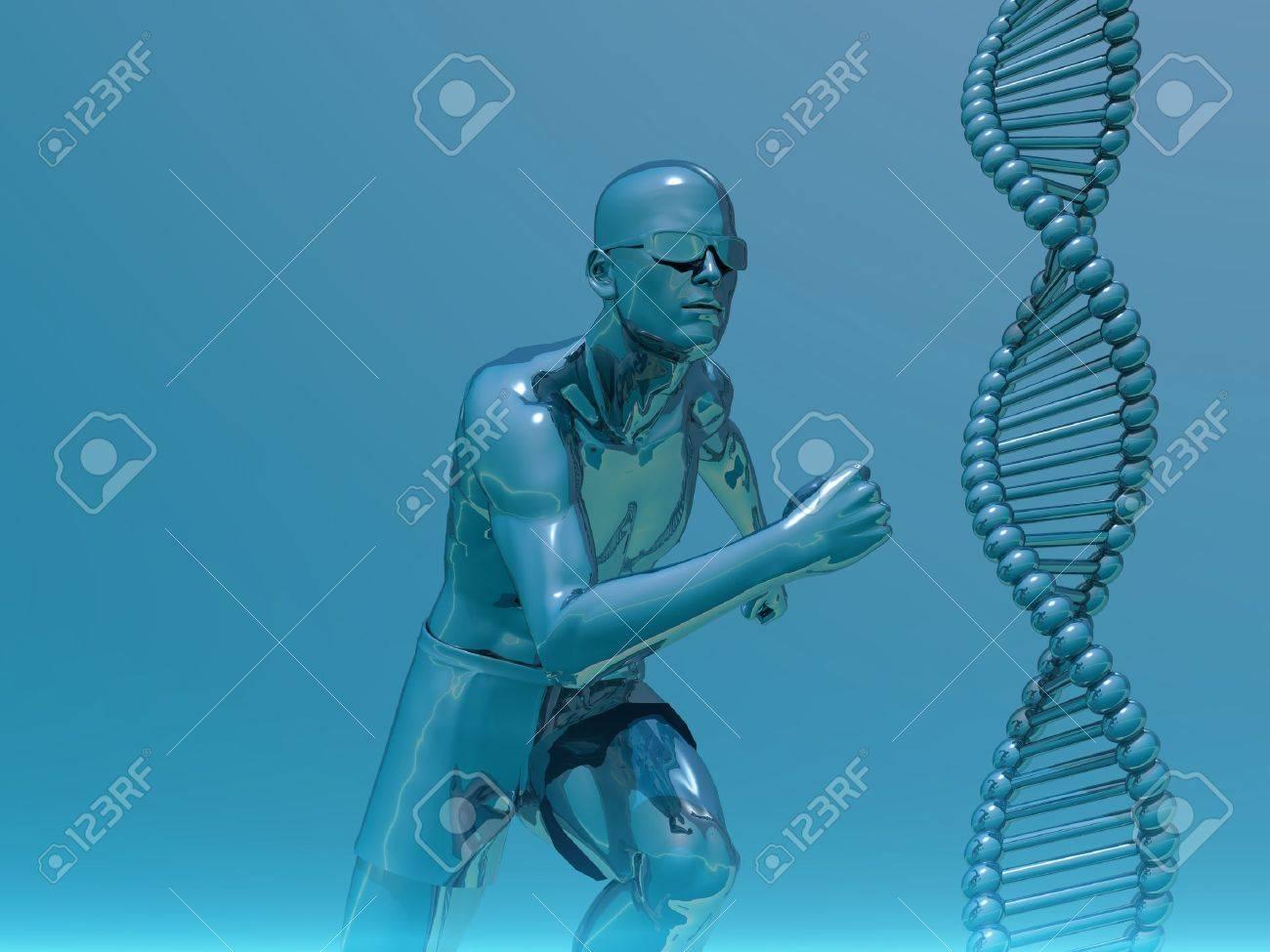 DNA strands and running man  - 3d illustration Stock Illustration - 9677593