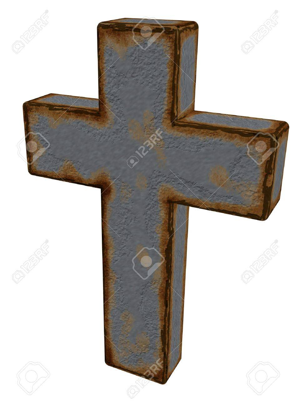 rusty christian cross on white background - 3d illustration Stock Photo - 9829193
