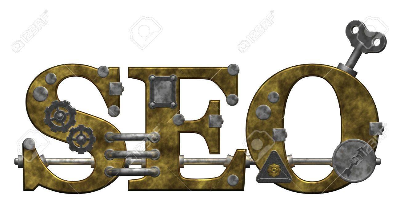 retro industrial letters seo on white background - 3d illustration Stock Illustration - 9959122