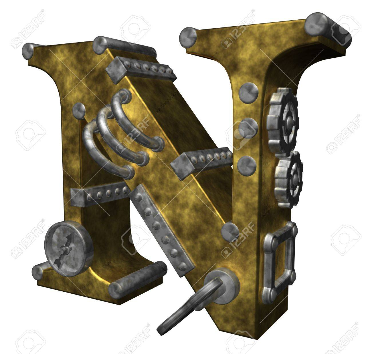 steampunk letter n on white background - 3d illustration Stock Illustration - 10303800