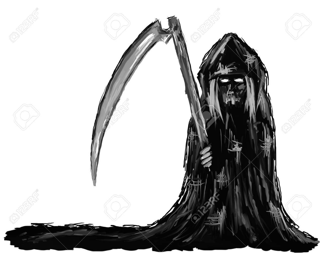 painting - reaper on white background Stock Photo - 10580020